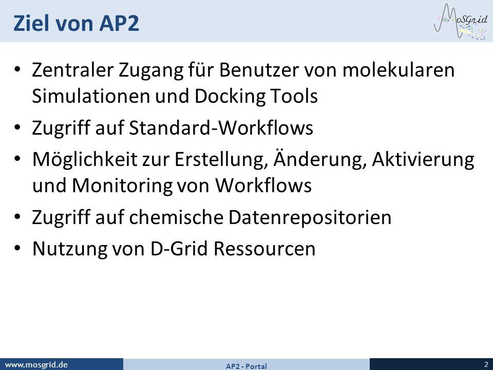 Ziel von AP2 Zentraler Zugang für Benutzer von molekularen Simulationen und Docking Tools. Zugriff auf Standard-Workflows.
