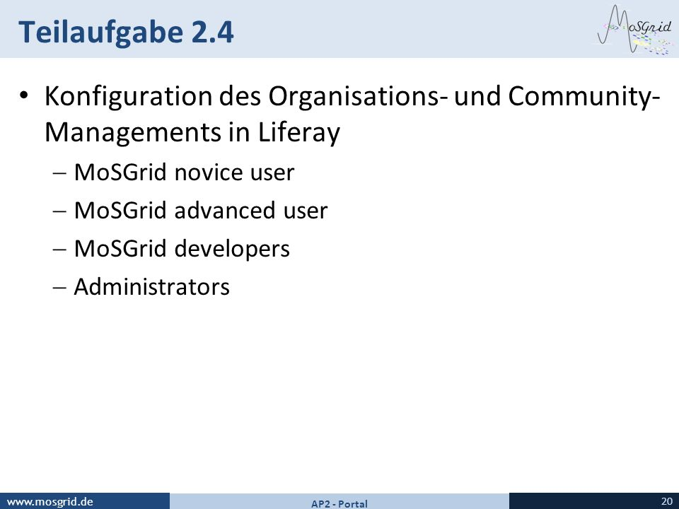 Teilaufgabe 2.4 Konfiguration des Organisations- und Community-Managements in Liferay. MoSGrid novice user.