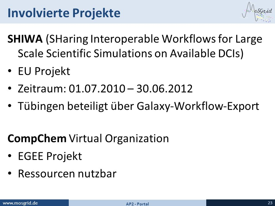 Involvierte Projekte SHIWA (SHaring Interoperable Workflows for Large Scale Scientific Simulations on Available DCIs)