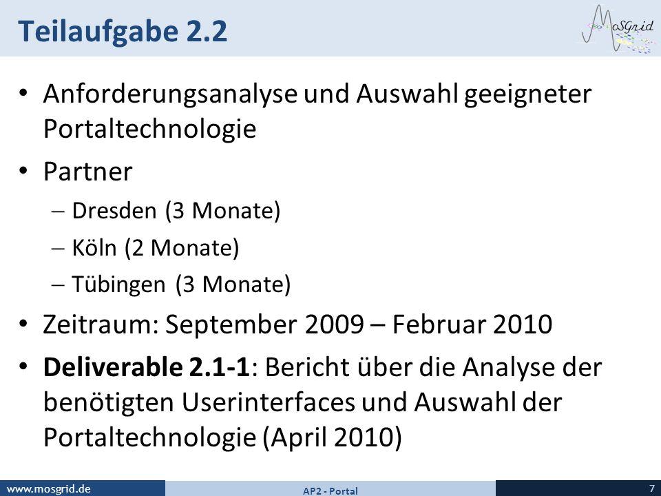 Teilaufgabe 2.2 Anforderungsanalyse und Auswahl geeigneter Portaltechnologie. Partner. Dresden (3 Monate)