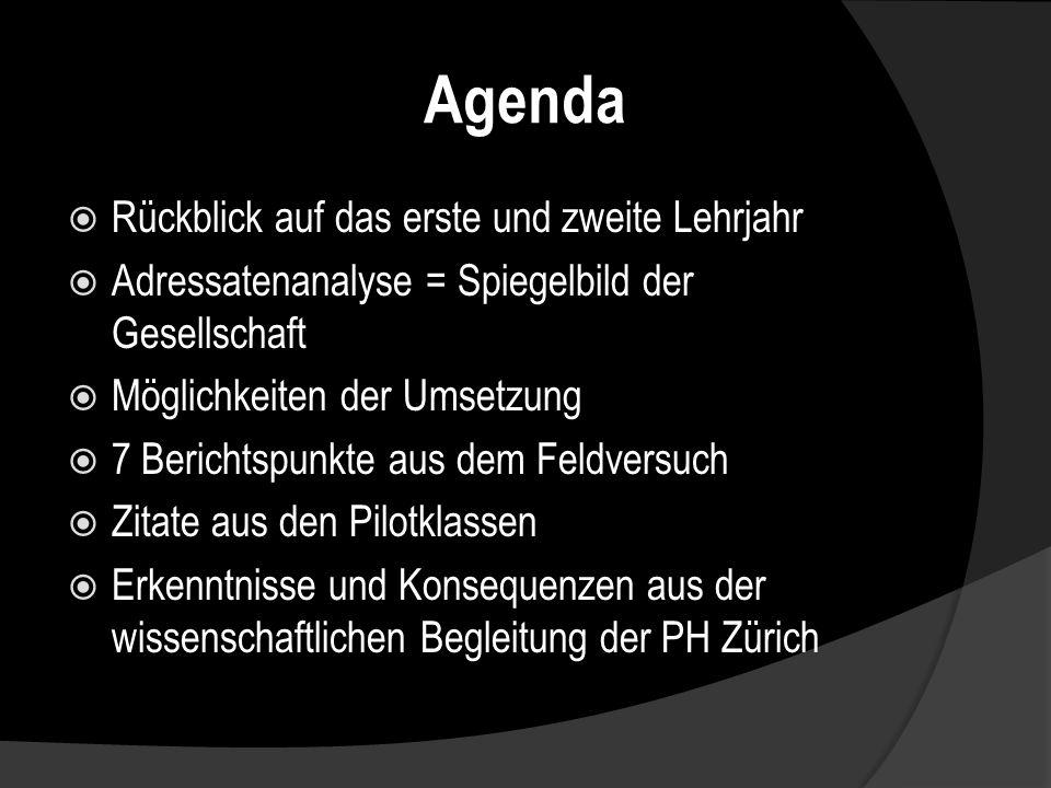 Agenda Rückblick auf das erste und zweite Lehrjahr