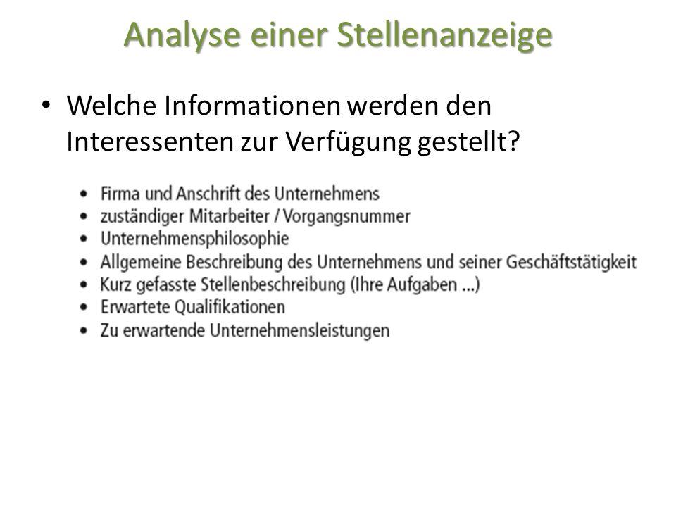 Analyse einer Stellenanzeige