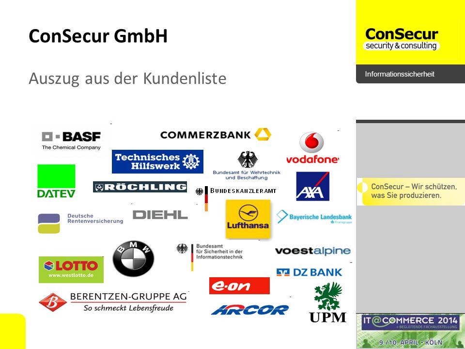 ConSecur GmbH Auszug aus der Kundenliste Bundeskanzleramt E.on