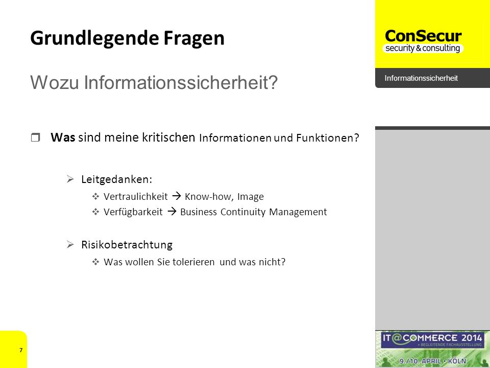 Grundlegende Fragen Wozu Informationssicherheit