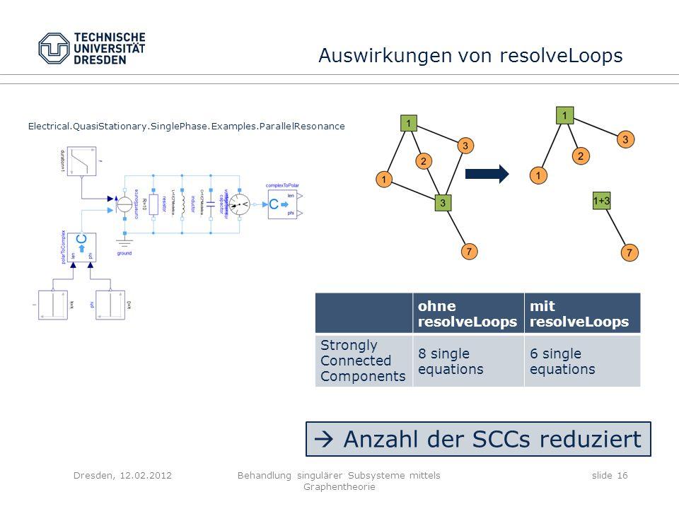 Behandlung singulärer Subsysteme mittels Graphentheorie