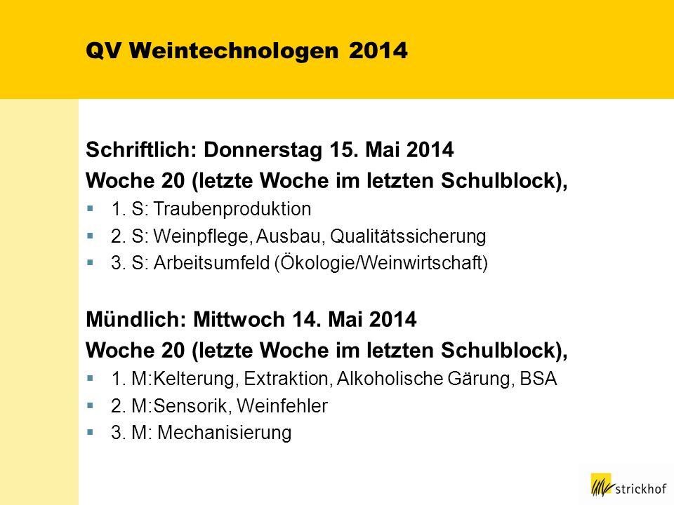 QV Weintechnologen 2014 Schriftlich: Donnerstag 15. Mai 2014