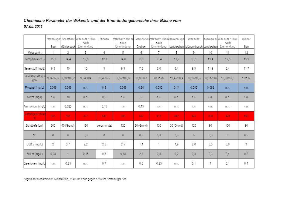 Chemische Parameter der Wakenitz und der Einmündungsbereiche ihrer Bäche vom 07.05.2011