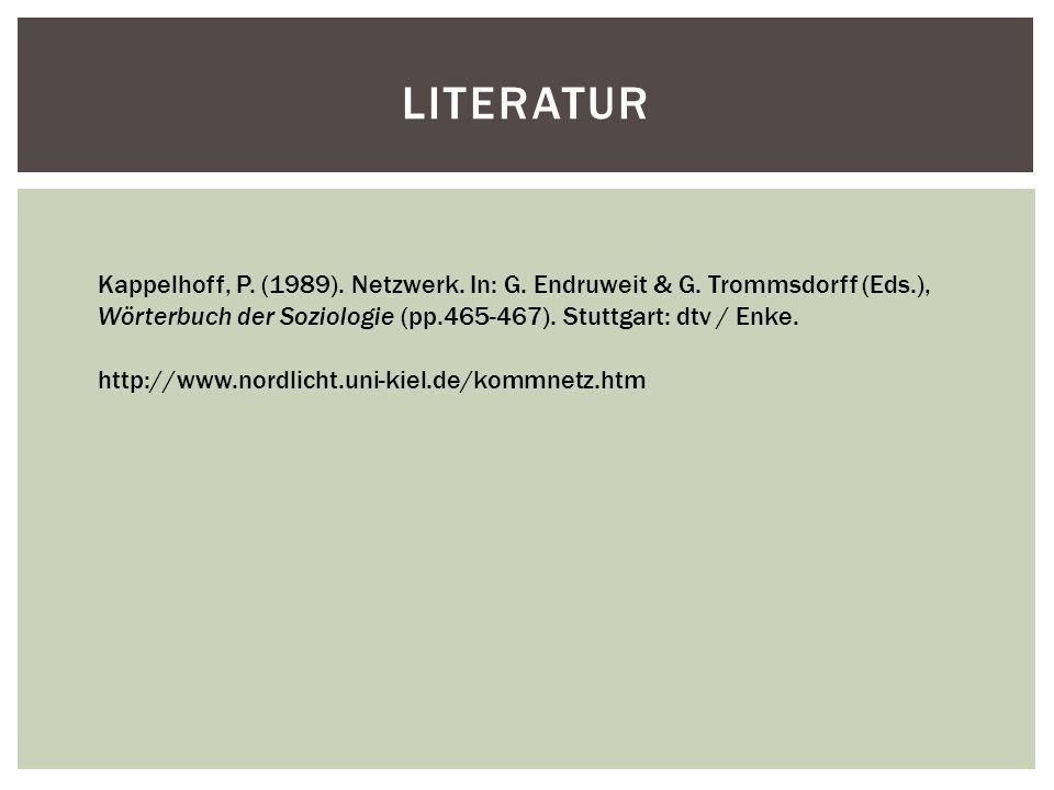 Literatur Kappelhoff, P. (1989). Netzwerk. In: G. Endruweit & G. Trommsdorff (Eds.), Wörterbuch der Soziologie (pp.465-467). Stuttgart: dtv / Enke.