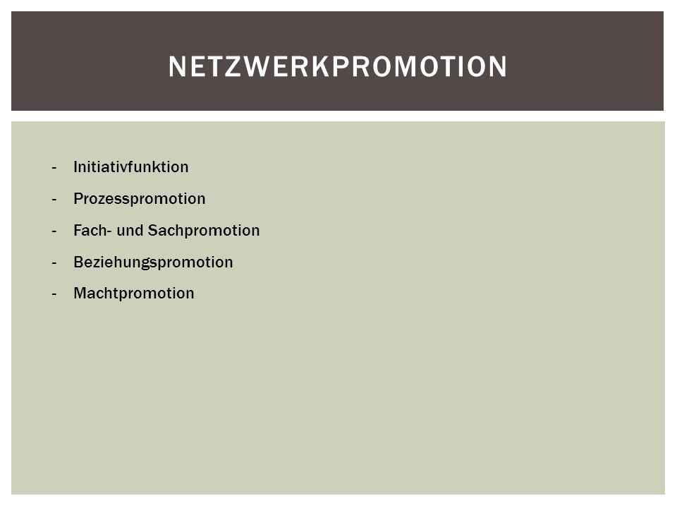 Netzwerkpromotion Initiativfunktion Prozesspromotion