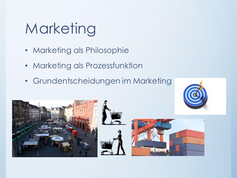 Marketing Marketing als Philosophie Marketing als Prozessfunktion