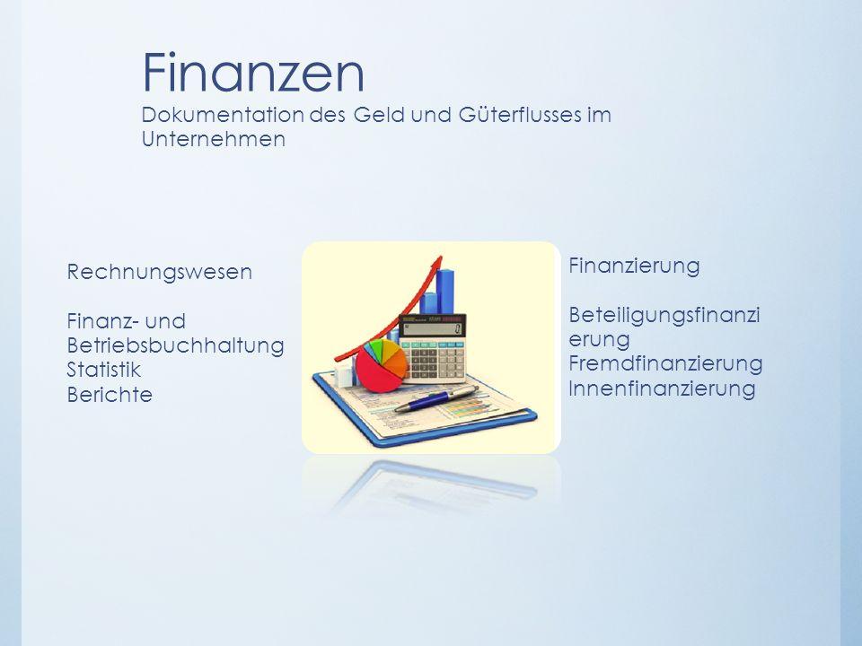 Finanzen Dokumentation des Geld und Güterflusses im Unternehmen