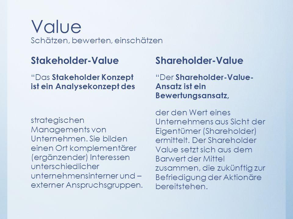 Value Schätzen, bewerten, einschätzen