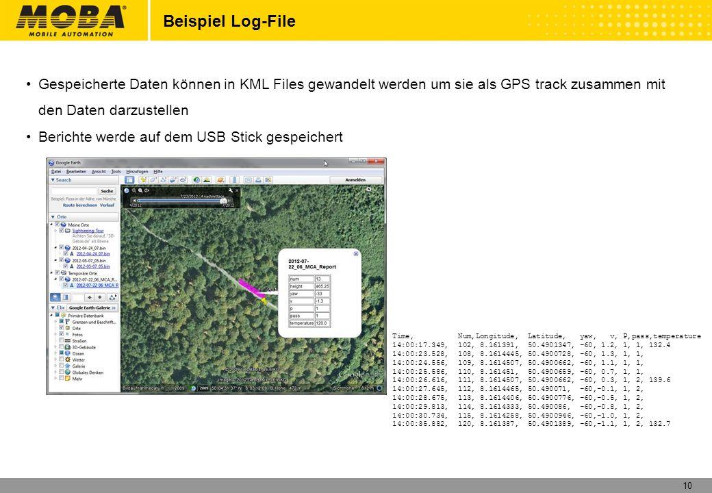 Beispiel Log-File Gespeicherte Daten können in KML Files gewandelt werden um sie als GPS track zusammen mit den Daten darzustellen.