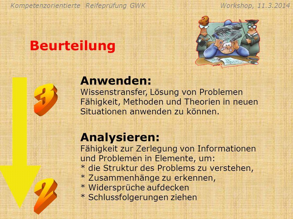 Beurteilung Anwenden: Wissenstransfer, Lösung von Problemen Fähigkeit, Methoden und Theorien in neuen Situationen anwenden zu können.