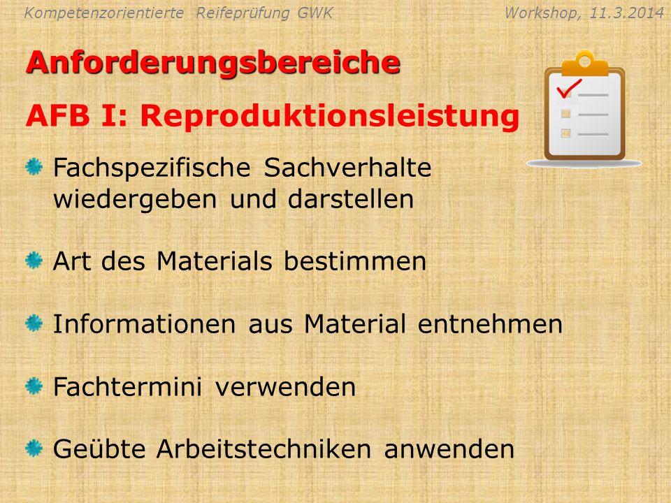 Anforderungsbereiche AFB I: Reproduktionsleistung