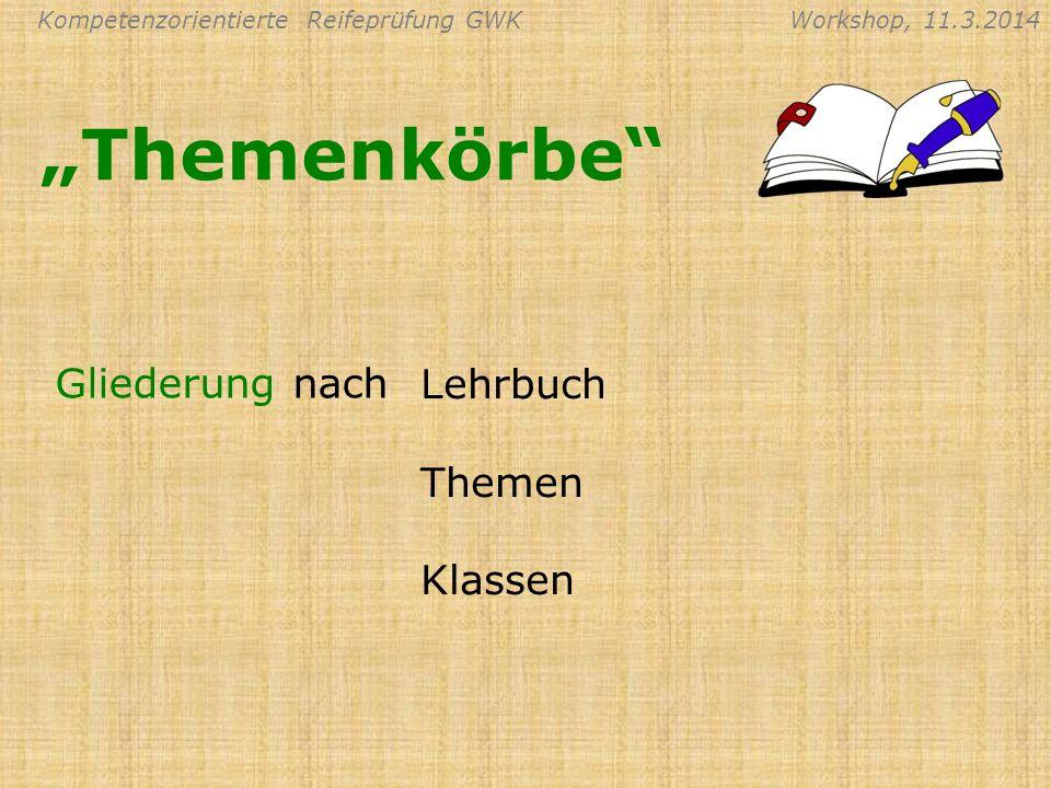 """""""Themenkörbe Gliederung nach Lehrbuch Themen Klassen"""