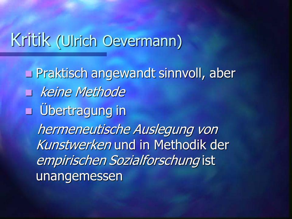 Kritik (Ulrich Oevermann)