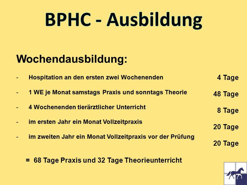 BPHC - Ausbildung Wochendausbildung: 4 Tage 48 Tage 8 Tage 20 Tage