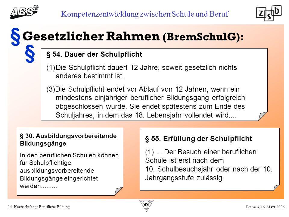 § § Gesetzlicher Rahmen (BremSchulG): § 54. Dauer der Schulpflicht