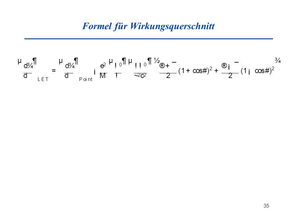 Formel für Wirkungsquerschnitt