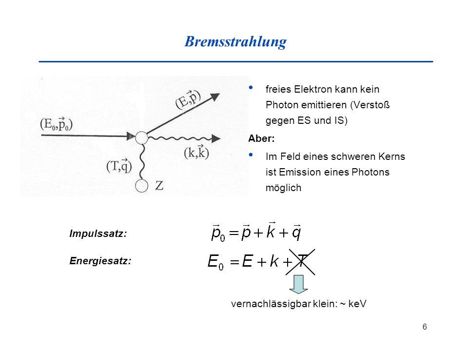 Bremsstrahlung freies Elektron kann kein Photon emittieren (Verstoß gegen ES und IS) Aber: