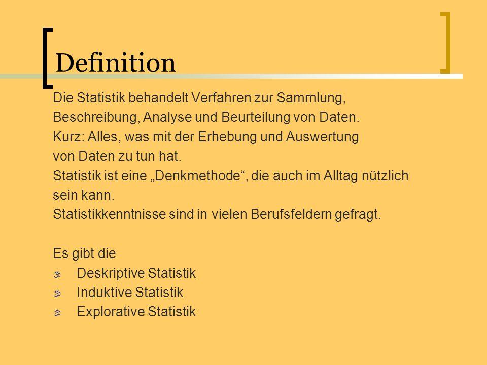 Definition Die Statistik behandelt Verfahren zur Sammlung,