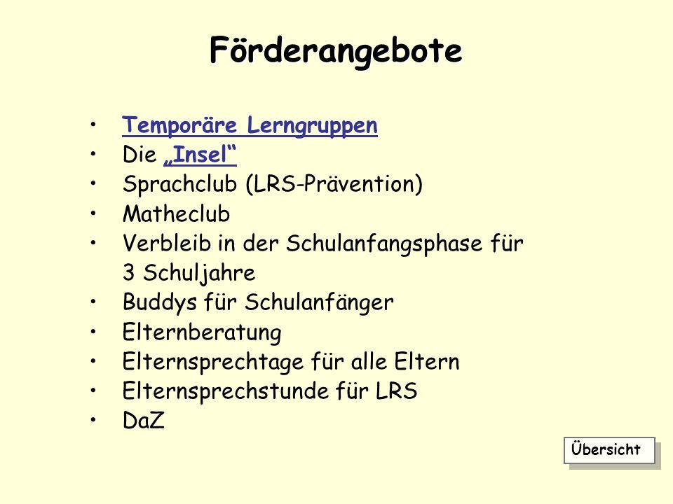 "Förderangebote Temporäre Lerngruppen Die ""Insel"