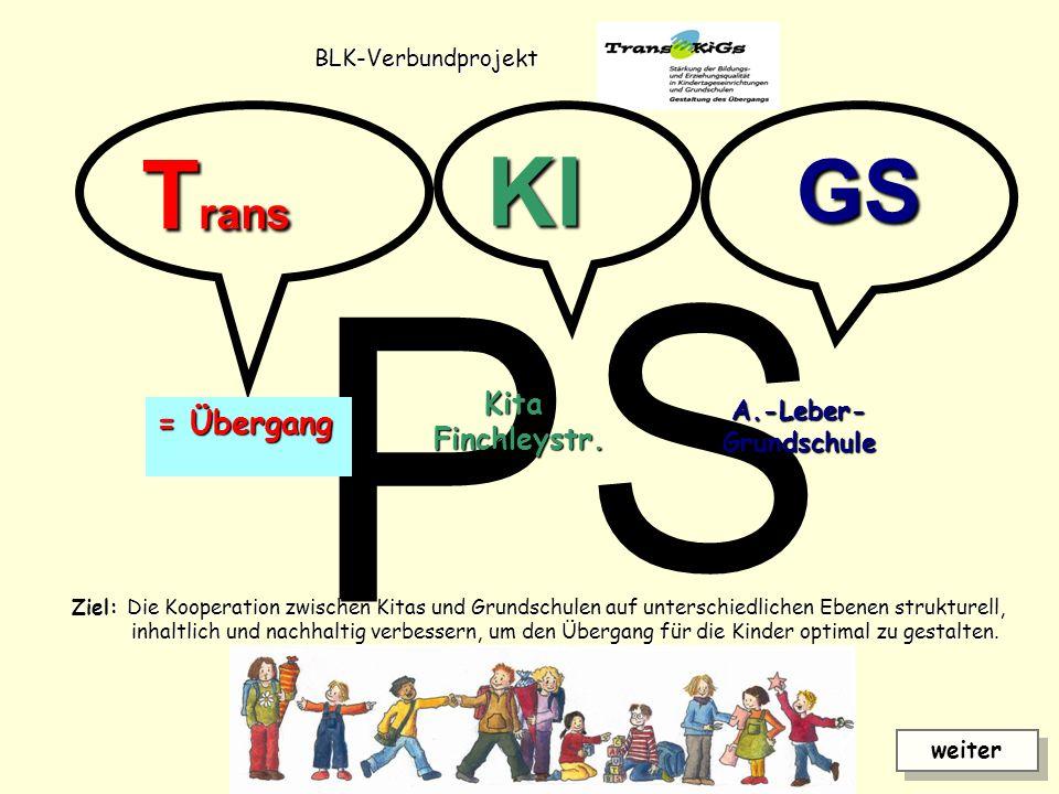 P S Trans KI GS = Übergang Kita Finchleystr. A.-Leber- Grundschule