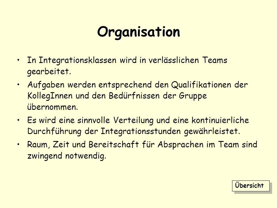 Organisation In Integrationsklassen wird in verlässlichen Teams gearbeitet.