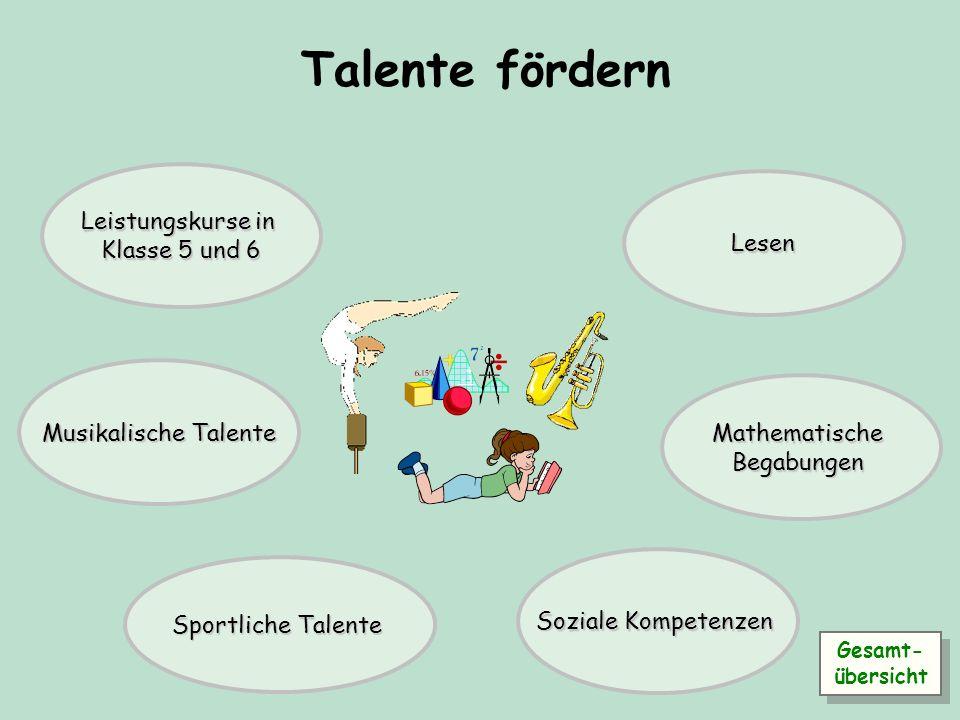 Talente fördern Leistungskurse in Klasse 5 und 6 Lesen