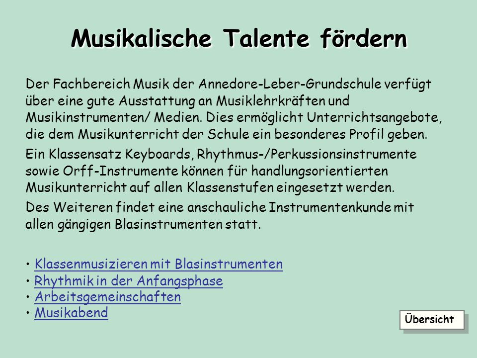 Musikalische Talente fördern