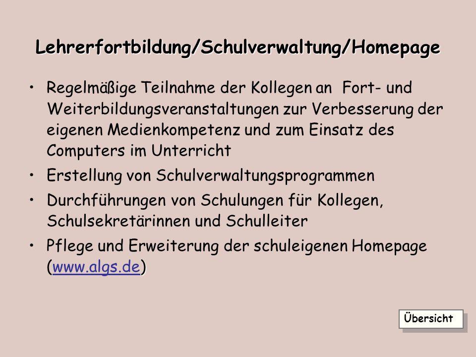 Lehrerfortbildung/Schulverwaltung/Homepage