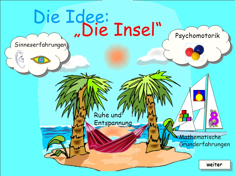 "Die Idee: ""Die Insel Psychomotorik Ruhe und Entspannung"