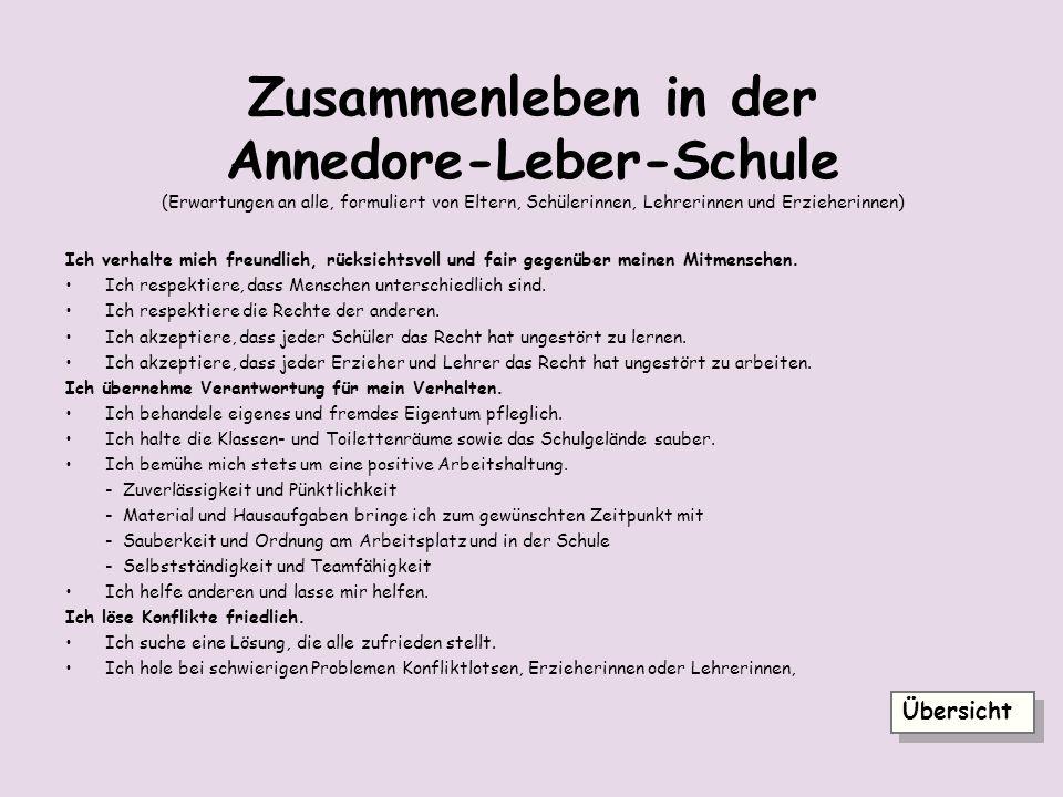 Zusammenleben in der Annedore-Leber-Schule (Erwartungen an alle, formuliert von Eltern, Schülerinnen, Lehrerinnen und Erzieherinnen)