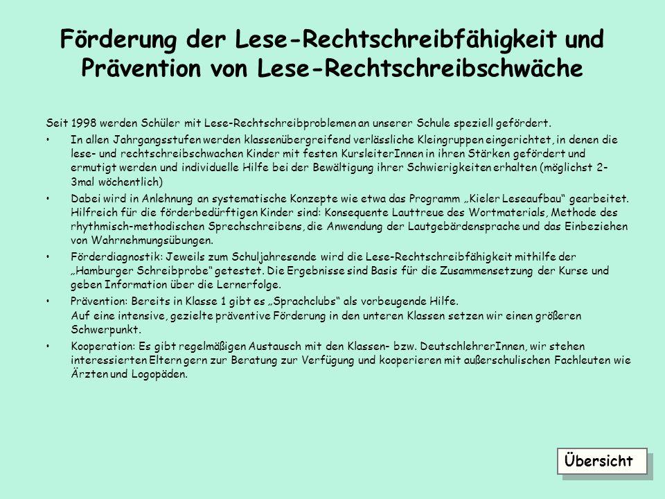 Förderung der Lese-Rechtschreibfähigkeit und Prävention von Lese-Rechtschreibschwäche