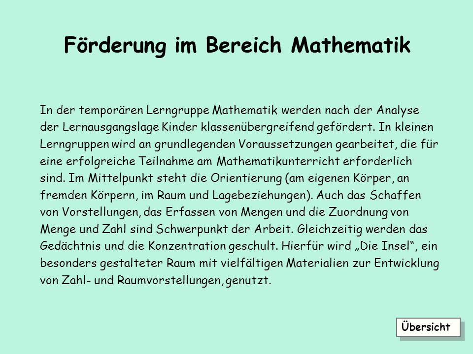 Förderung im Bereich Mathematik