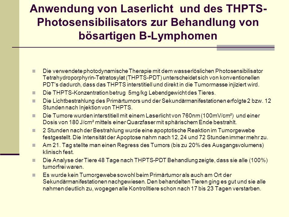 Anwendung von Laserlicht und des THPTS-Photosensibilisators zur Behandlung von bösartigen B-Lymphomen