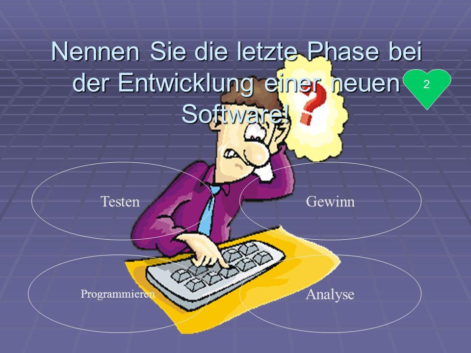 Nennen Sie die letzte Phase bei der Entwicklung einer neuen Software!