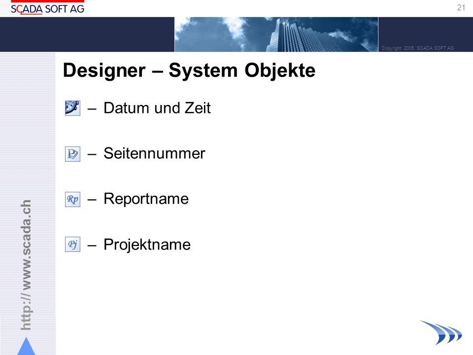 Designer – System Objekte