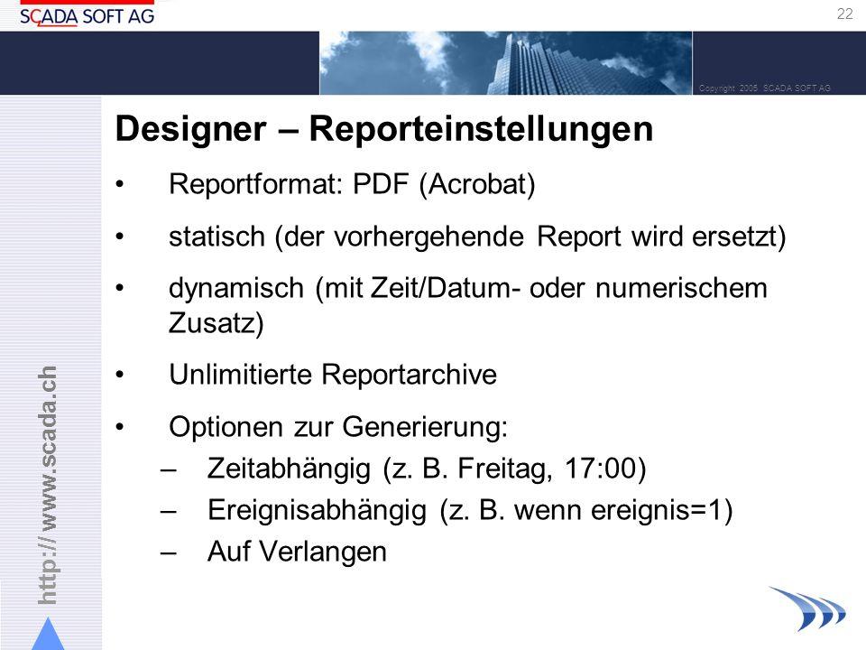 Designer – Reporteinstellungen