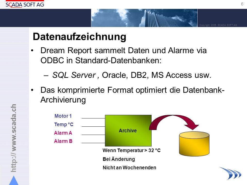 Datenaufzeichnung Dream Report sammelt Daten und Alarme via ODBC in Standard-Datenbanken: SQL Server , Oracle, DB2, MS Access usw.