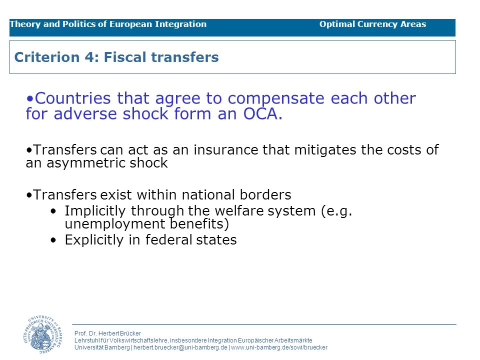 Criterion 4: Fiscal transfers