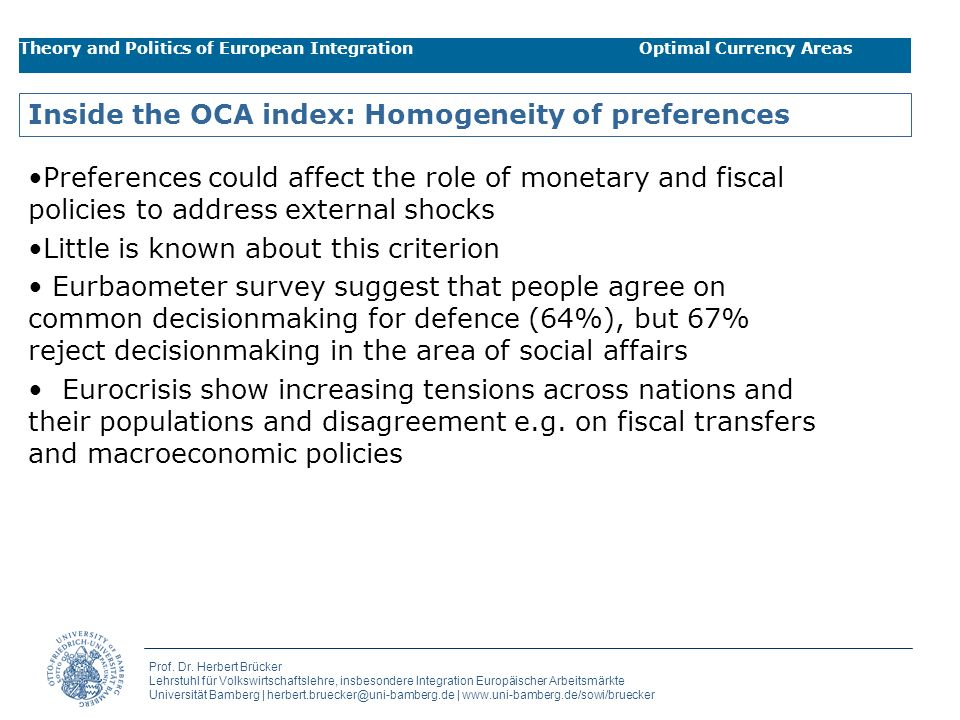 Inside the OCA index: Homogeneity of preferences