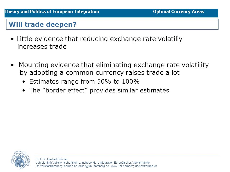 Little evidence that reducing exchange rate volatiliy increases trade