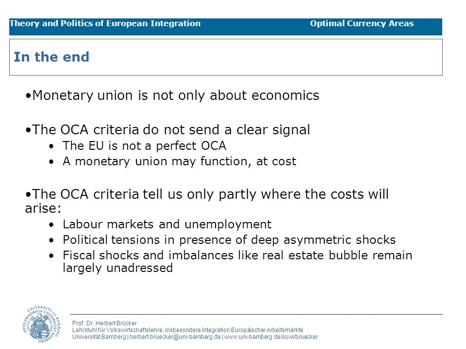 Monetary union is not only about economics