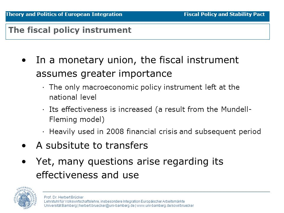 The fiscal policy instrument