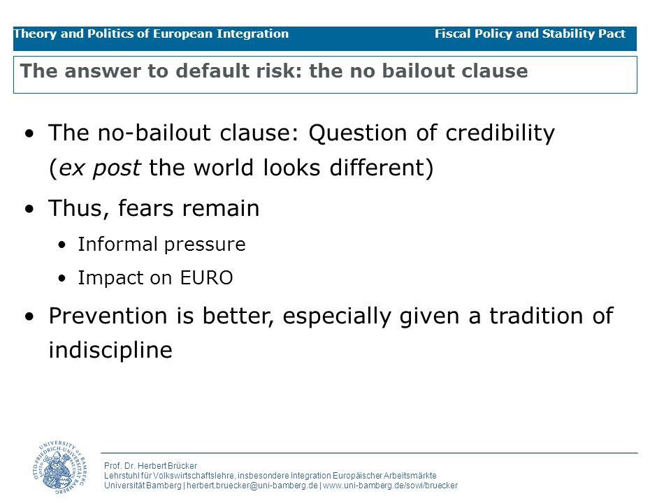 The answer to default risk: the no bailout clause