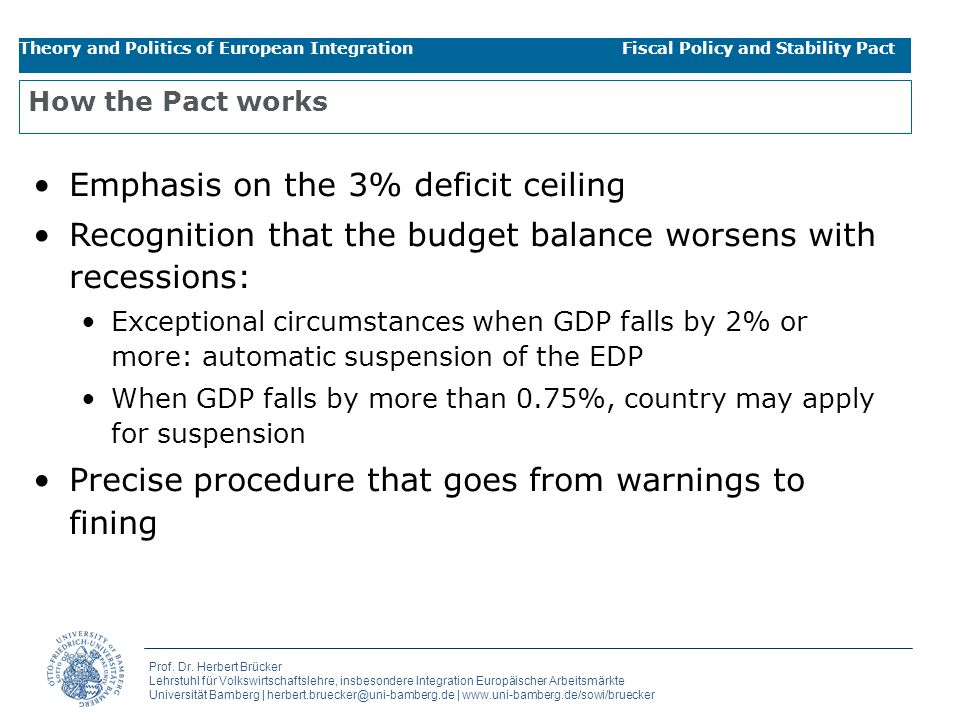 Emphasis on the 3% deficit ceiling