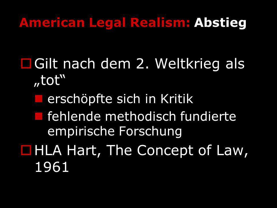 American Legal Realism: Abstieg