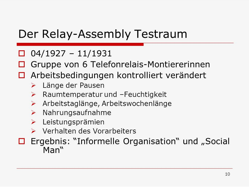 Der Relay-Assembly Testraum